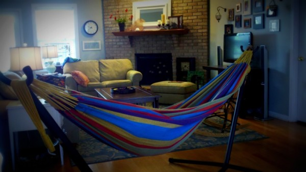 there's a hammock in my living room - under an open sky - how